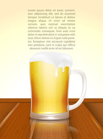 Beer mug on wooden table Vector