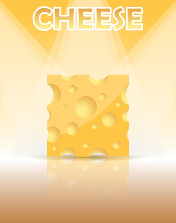 Piece of cheese, vector illustration Vector