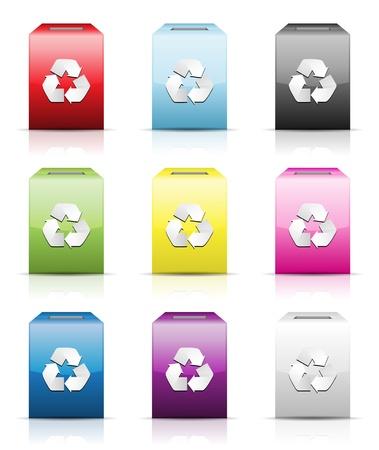 wastebasket: Wastebasket icon set isolated on white, vector illustration Illustration