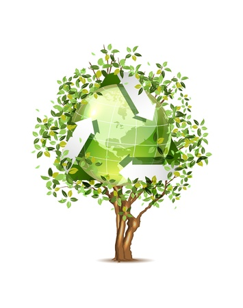 Ecological icon of earth on the tree Vector