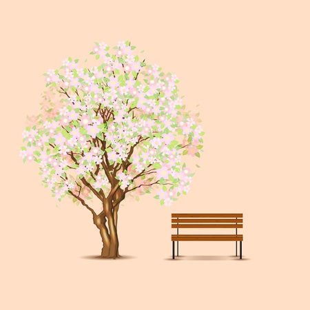 Traditional japanese tree and bench Ilustracja