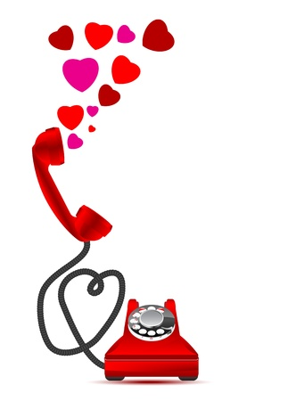 phone number: Red retro phone with hearts Illustration