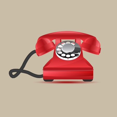 telephone line: Glossy retro phone