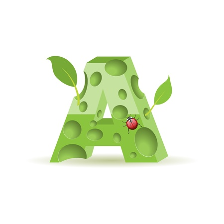 write letter: Ecological alphabet, green floral letter with ladybird