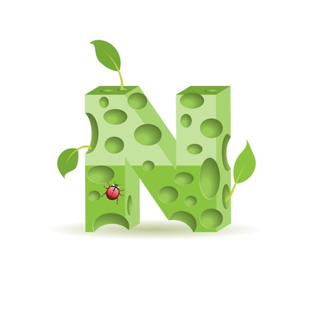 3d alphabet letter abc: Ecological alphabet, green floral letter with ladybird