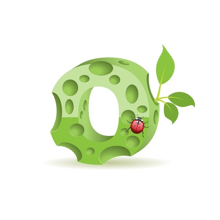 Ecological alphabet, green floral letter with ladybird
