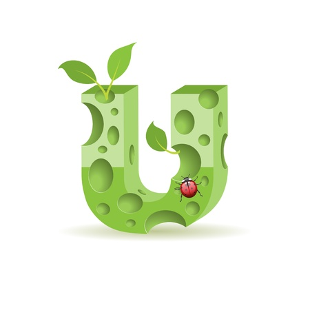 Ecological alphabet, green floral letter with ladybird Vector