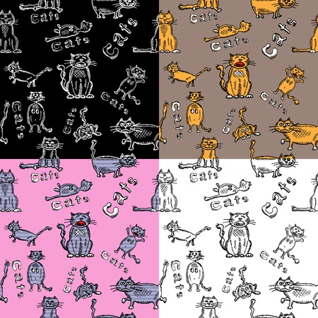 Set of seamless backgrounds of funny hand-drawn cats Vector
