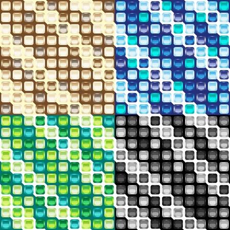 bathroom tile: Set of four mosaic seamless patterns Illustration