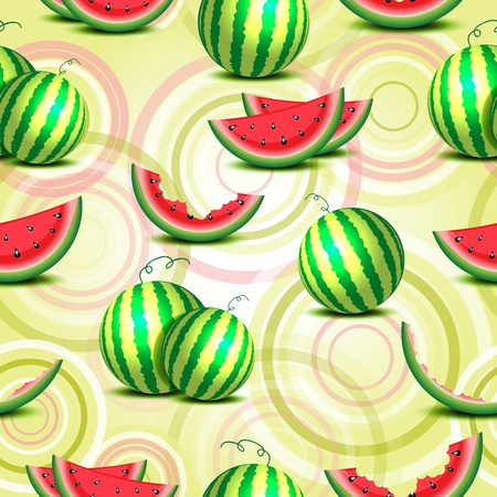 Seamless background of whole watermelons and slices Vector