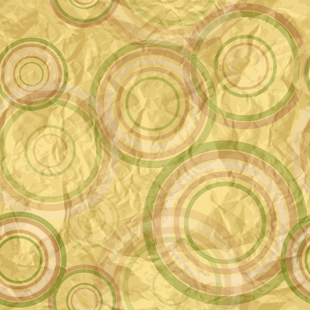 crumpled paper ball: Abstract circle retro pattern, vector illustration, eps10, 2 named layers, 2 seamless patterns by the price of one!=) P.S.: crumled paper texture is also seamless pattern! Illustration