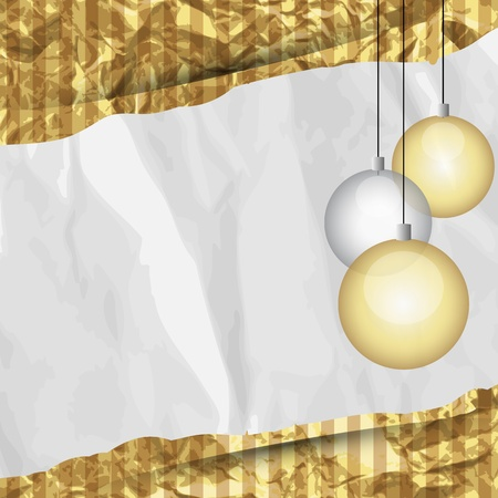 crumpled paper ball: Christmas retro frame, vector illustration, eps10,  2 layers  Bonus   Golden foil is a seamless pattern, which can be used in your design