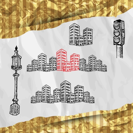 Cityscape sketch set,3 layers, easy editable  BONUS  Golden foil is a seamless pattern, which you can use in your design  Vector