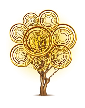 rings on a tree: Art tree with leaf of golden rings