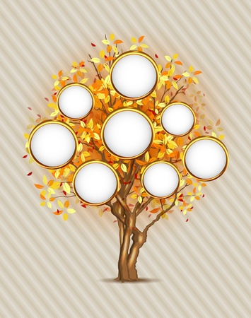 rowan tree: Family tree with place for your photos or text, 3 layers, easy editable!