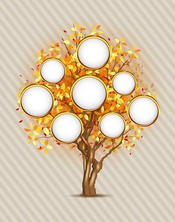 árbol genealógico: Árbol genealógico con el lugar para las fotos o el texto, las capas 3, editable fácil!