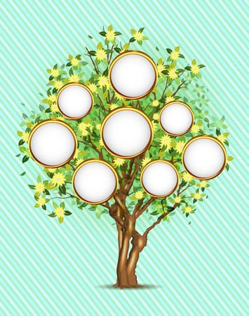 golden apple: Family tree with place for your photos or text, 3 layers, easy editable!