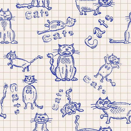 Seamless backgrounds of funny hand-drawn cats, pattern,  Vector