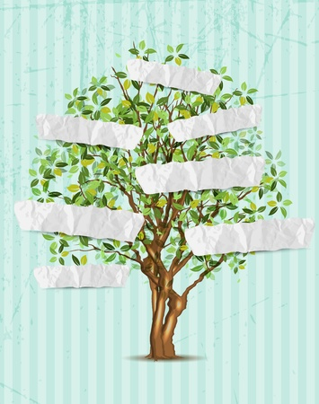Tree with paper for your text, 3 layers, easy editable Ilustracja