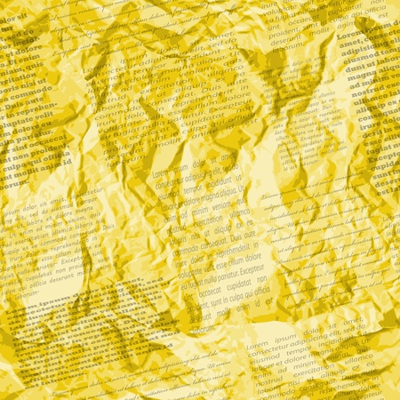Crumpled golden page of newspaper, seamless pattern,  2 layers  TWO seamless patterns by the price of one   Easy editable  Vector