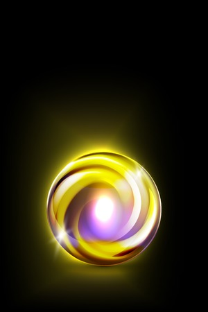 glowing ball: Abstract yellow glowing ball for your design, vector illustration,  2 layers