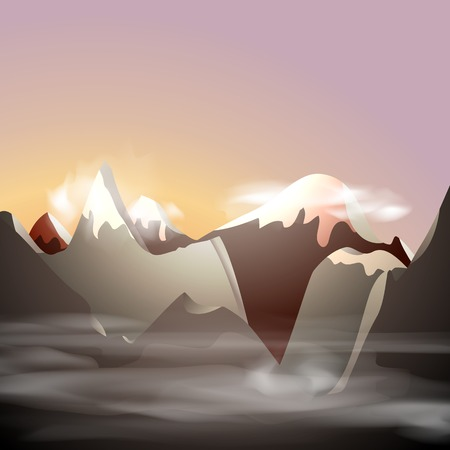Mountain landscape, vector illustration, eps10, 3 layers, easy editable Vector