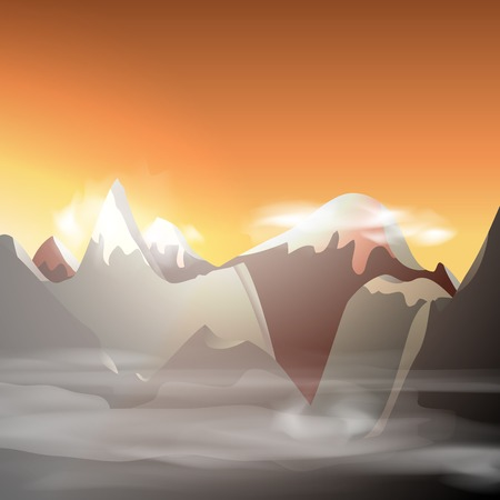 Mountain landscape, vector illustration, eps10, 3 layers, easy editable