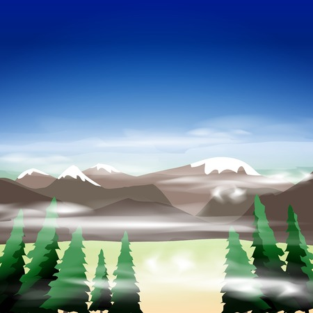 Mountain landscape, vector illustration, eps10, 4 layers, easy editable Vector