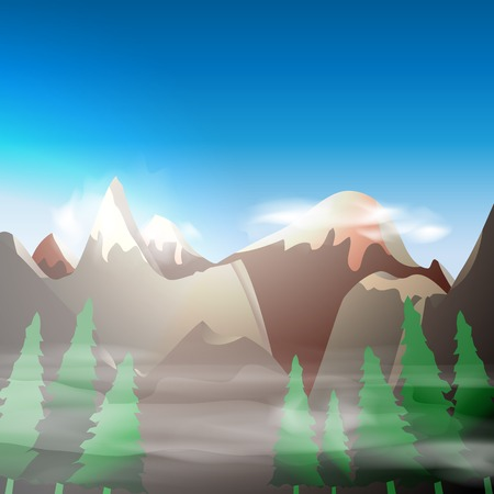 Mountain forest  landscape, vector illustration, eps10, 4 layers, easy editable Vector
