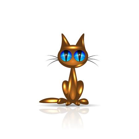 cat's eye glasses: Golden cat with reflection, vector illustration, eps10 Illustration
