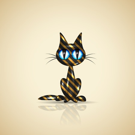 Golden present cat with reflection, vector illustration, eps10