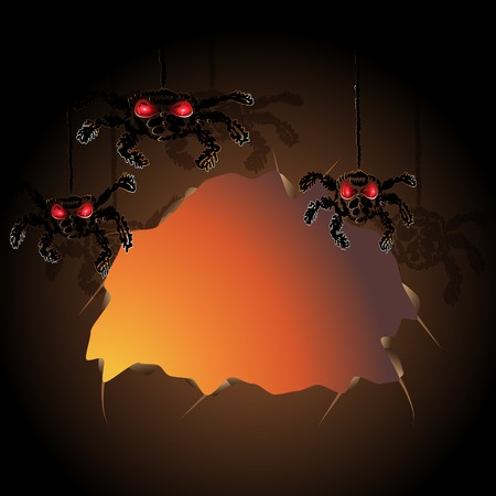 Halloween invitation card, cave with spiders, vector illustration, eps10, 2 layers. Vector