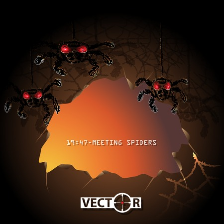 Halloween invitation card, cave with spiders, vector illustration, eps10, 4 layers. Vector