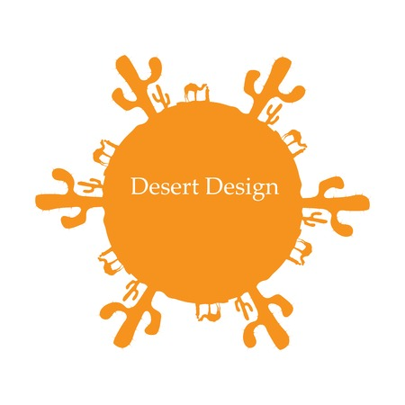 Desert sun, made of cactuses and camels, vector illustration, eps10. Vector