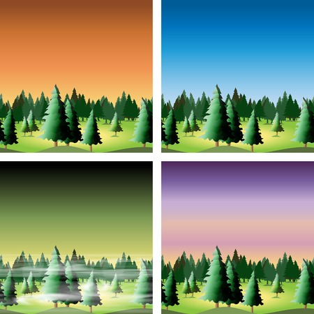 Seamless forest set for your design, vector illustration, eps10 Stock Vector - 23353669