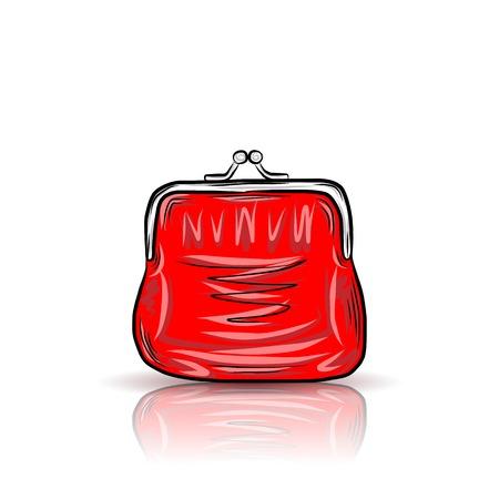 Red vintage purse Vector