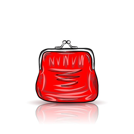 red purse: Red vintage purse Illustration