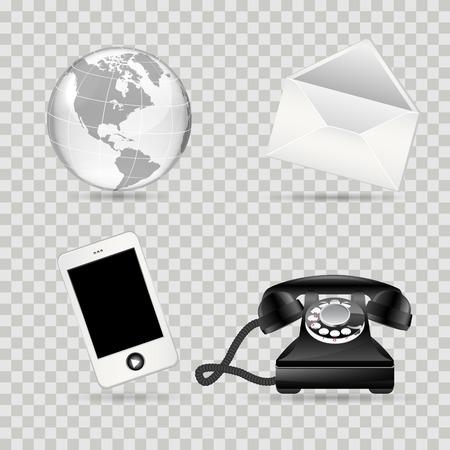 transparent globe: Communication icon set