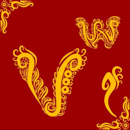 Decorative Alphabet V Vector