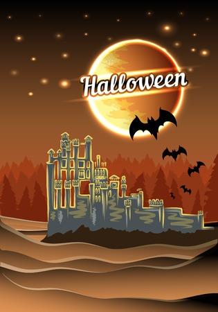 Halloween castle Vector