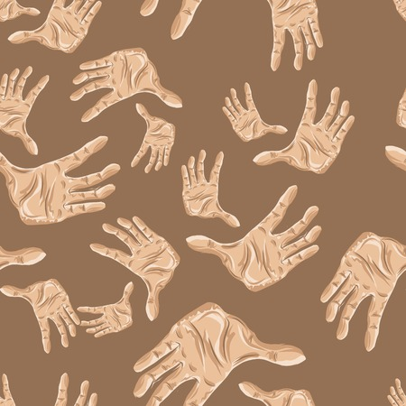 mimic: Seamless pattern of hands, vector illustration for your design,.