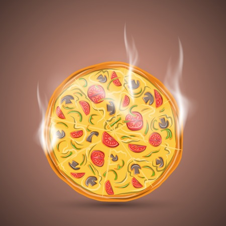 pizza ingredients: Hot vegetarian pizza, vector illustration 4 your design,  Illustration