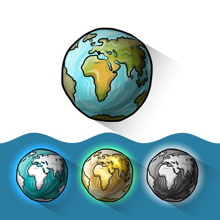 globo terrestre: Doodle conjunto mundo Vectores