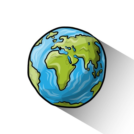 planet earth: Doodle globe Illustration