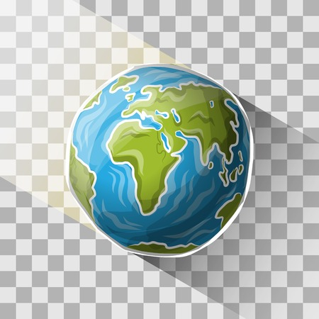 Doodle globe with transparent shadow, vector illustration for your design, eps10 3 layers Vettoriali