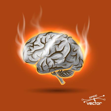 brain game: Melting brain, vector illustration for your design, 5 editable layers eps10