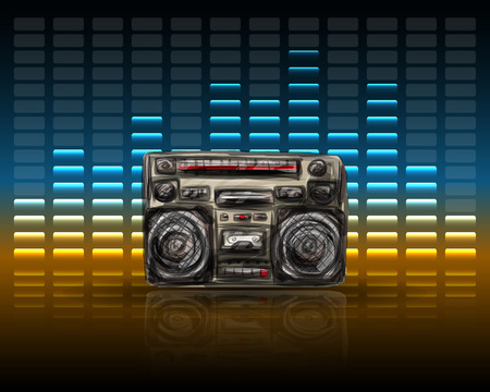 boom box: Tape recorder with equalizer, vector illustration for your design,  Illustration