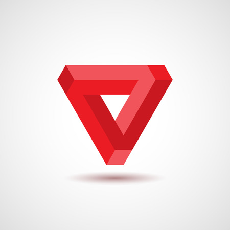 Onmogelijke driehoek, optische illusie, vector illustratie