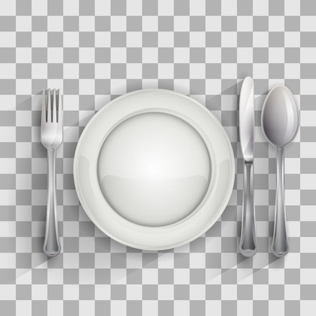 Placa vacía con la cuchara, cuchillo y tenedor sobre fondo transparente, ilustración vectorial 4 su diseño, eps10 5 capas editables fácil