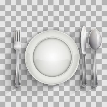 Plato vacío con cuchara, cuchillo y tenedor sobre fondo transparente, ilustración vectorial 4 su diseño, eps10 5 capas fácil editable